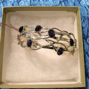 Silver Iolite Bracelet woven blue violet